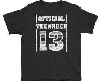 Awesome 13th Birthday Official Teenager Shirt Girls Boys Funny Gifts 13 Yrs Old 13-Year-Old Kid Teen Gift T-Shirt Youth Short Sleeve T-Shirt