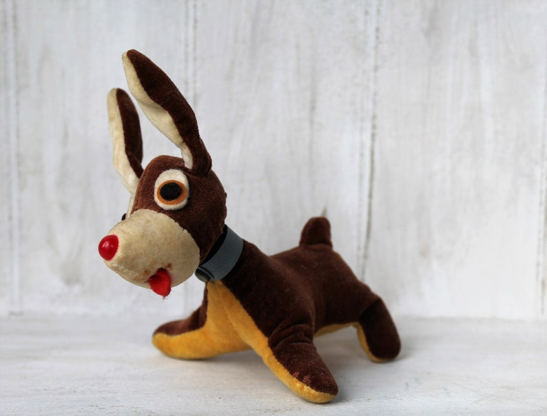 Small fabric dog 50s dog puppy plushie vintage old antique