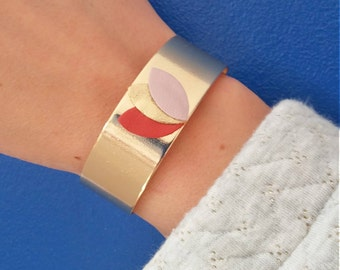 Wide Cuff Bracelet gold plated and leather