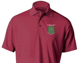 dc17113f 10th Special Forces Group Embroidered Moisture Wick Polo Shirt -1967