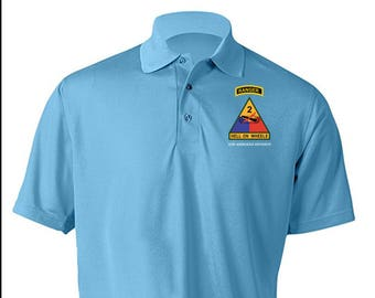 477ccc3d5 2nd Armored Division w/ Ranger Tab Embroidered Moisture Wick Polo Shirt  -3373
