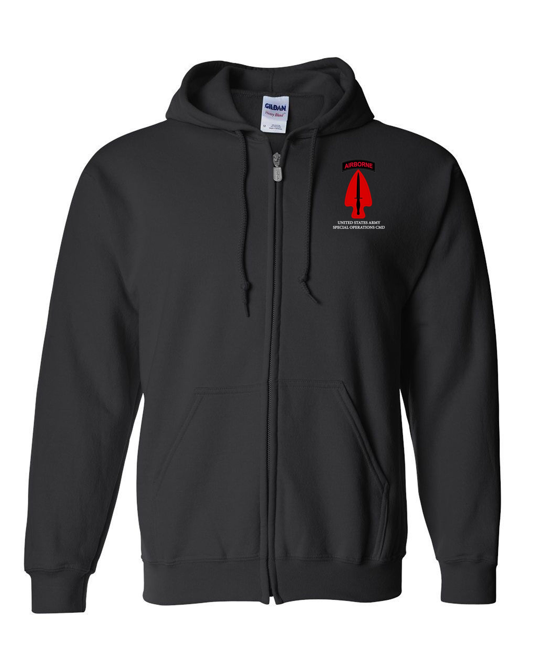 US Army Special Operations Command-USASOC Embroidered Hooded Sweatshirt w/  Zipper-14027