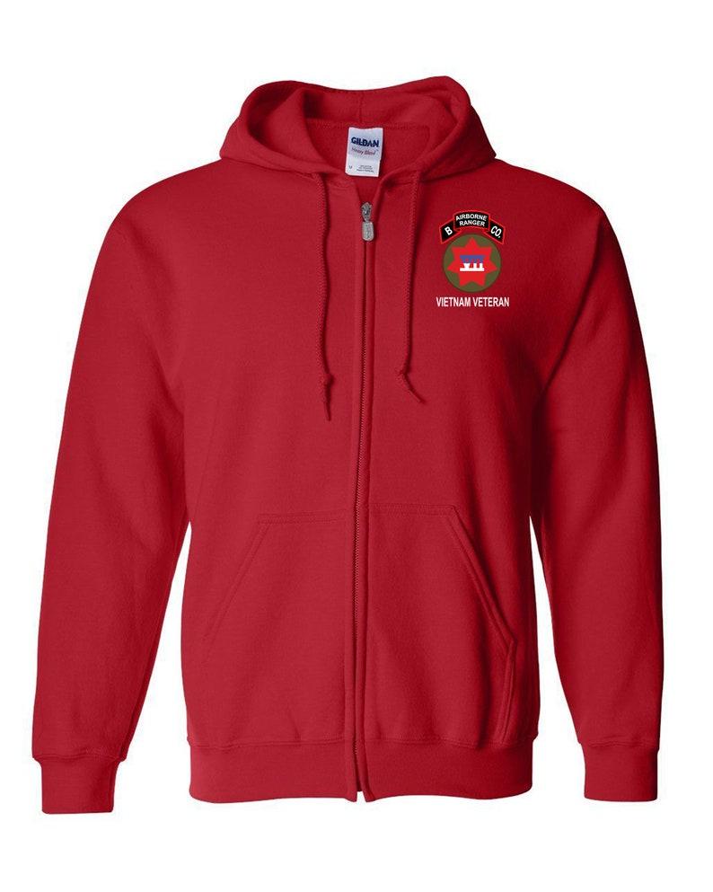 Embroidered Hooded Sweatshirt w Zipper-13227 B Company 75th Ranger Company-Vietnam