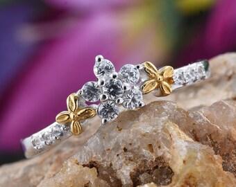Cambodian White Zircon Ring - Size 8