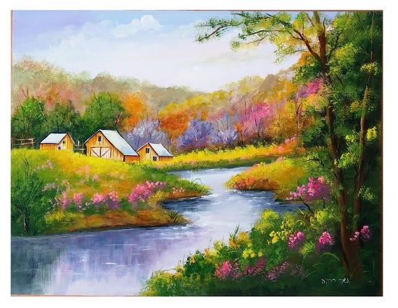Goede Huizen door de rivier-handgemaakte Acryl schilderij op | Etsy RS-95