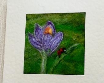 Needle felted greetings card - spring crocus flower and ladybird - miniature felt art.