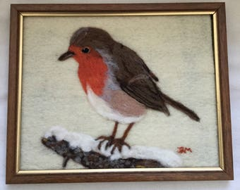 """Needle felted robin picture - wool """"painting"""""""