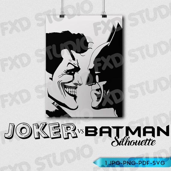 Joker Vs Batman Silhouette Clip Art Image Batman Joker Etsy