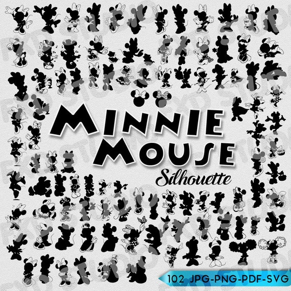 graphic about Disney Silhouette Printable called Minnie Mouse Silhouettes, Minnie Mouse Clip Artwork, Disney Silhouettes, Minnie Mouse Printable Silhouette SVG Documents, Minnie Vinyl, PNG Documents