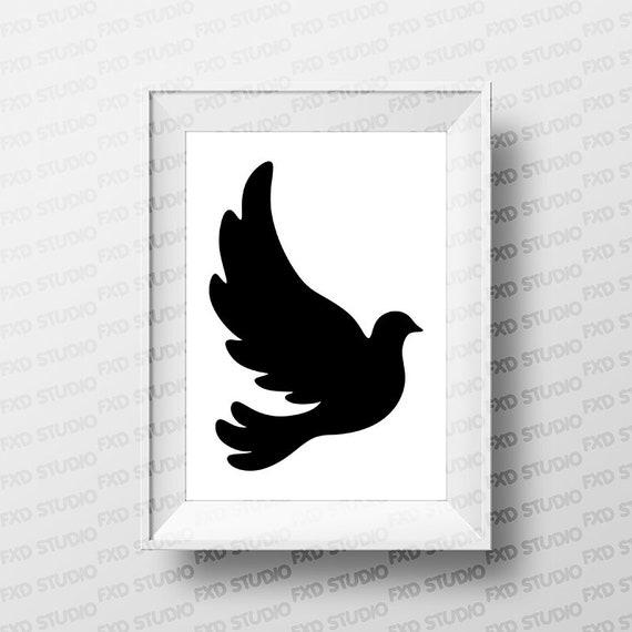 Dove Silhouette Clip Art Image, Black Dove Silhouette, T-Shirt Printable,  Vinyl, Dove SVG File, Flying Dove Silhouette SVG File