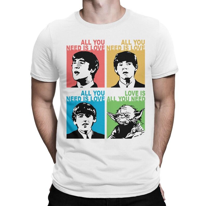 abfb50ba9 Love Is All You Need T-shirt Beatles Yoda Star Wars Combo   Etsy