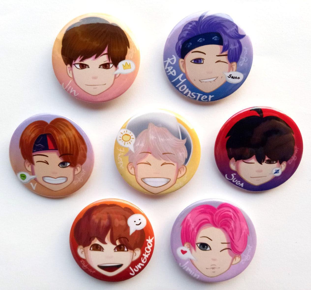 BTS pin set, 20mm pins, BTS badges, BTS buttons