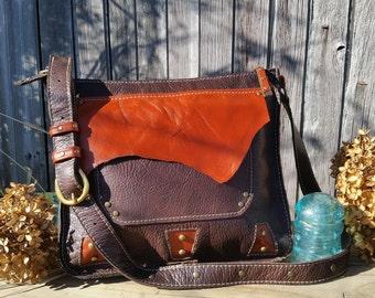 Handmade leather cross body satchel