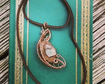 Smoky Moon - Smoky Quartz wrapped in a Copper Crescent, Necklace