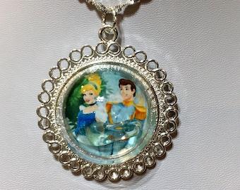 Cinderella Prince Charming glass slipper silver pendant necklace glass globe