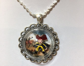 Napolean Bonaparte or french soldier war character in battle antique silver plated necklace glass globe silver chain