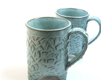 Set of turquoise mugs, Tripod mugs, Turquoise pottery mugs, Turquoise coffee mugs. Large coffee mugs