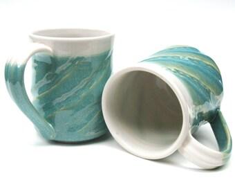 Turquoise mug set, Turquoise and white mugs, Blue mug, Green mug, Pottery mug pair