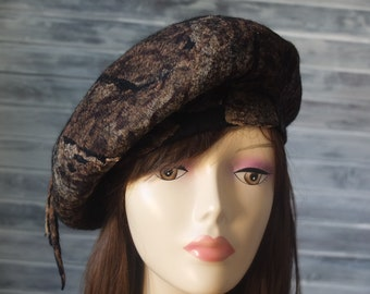 98c13f72 Animal print felted beret, French handmade felting beret cap, Trendy wool  hat