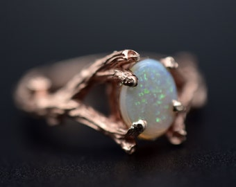 garden ring branch ring sterling nest ring leaf and twig Cultured opal ring opal ring silver cast twig and leaf ring nature jewelry