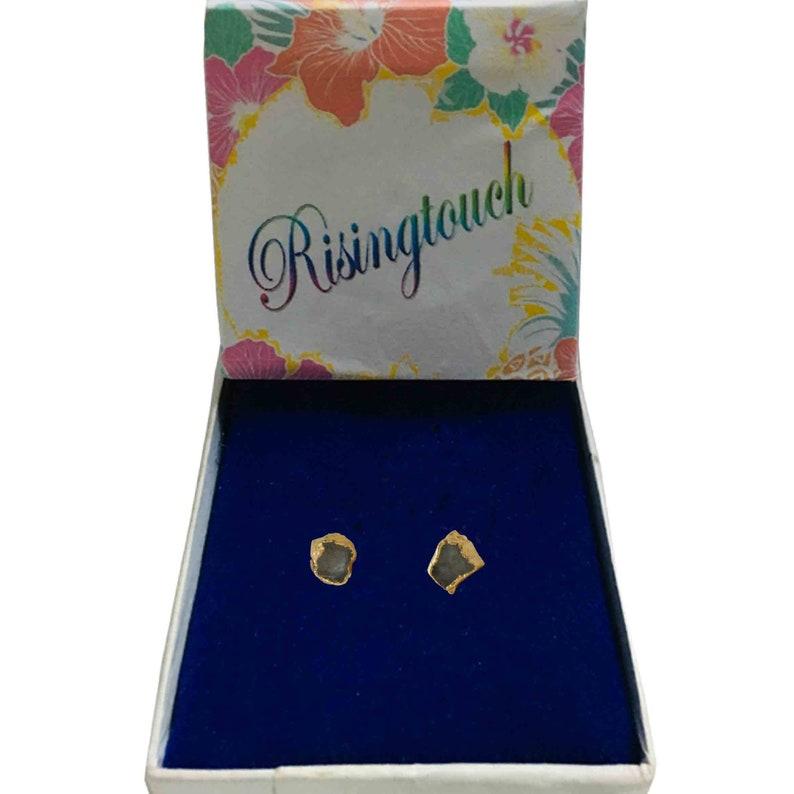 diamond earrings,raw crystal stud earrings,raw crystal set boho earrings Crystal stud earrings