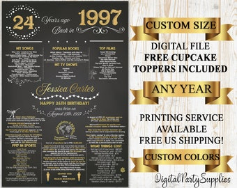 Custom PRINTABLE 16x20\u201d /'97 Retirement Party Decoration Retirement Party D\u00e9cor Flashback to 1997 Back in 1997 Poster