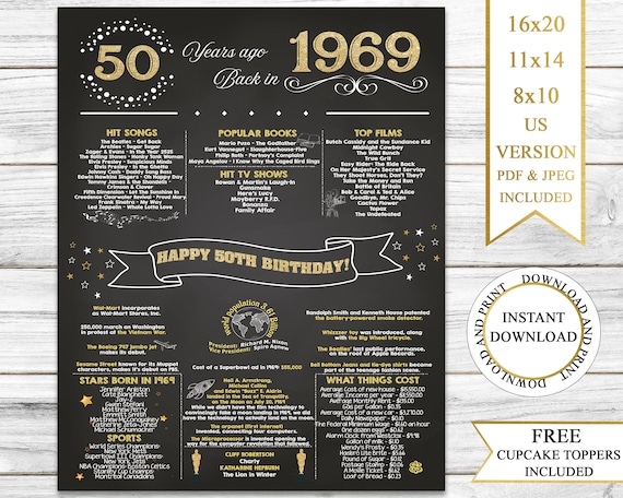 11x14 1969 Birthday Gift //// Back in 1969 Black and White Poster //// 50th Birthday Gift //// 50th Party Decoration //// 50th Birthday Sign //// Born in 1969 Print