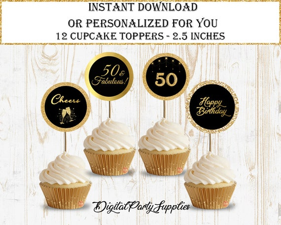 50 Birthday Cupcake Topper50th DecorInstant Download50th