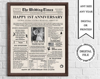 Personalized Newspaper Anniversary Poster with Photo, 2020 Anniversary Sign, 1 Year Ago In 2020, 1st Wedding Anniversary Board, 2020 Poster