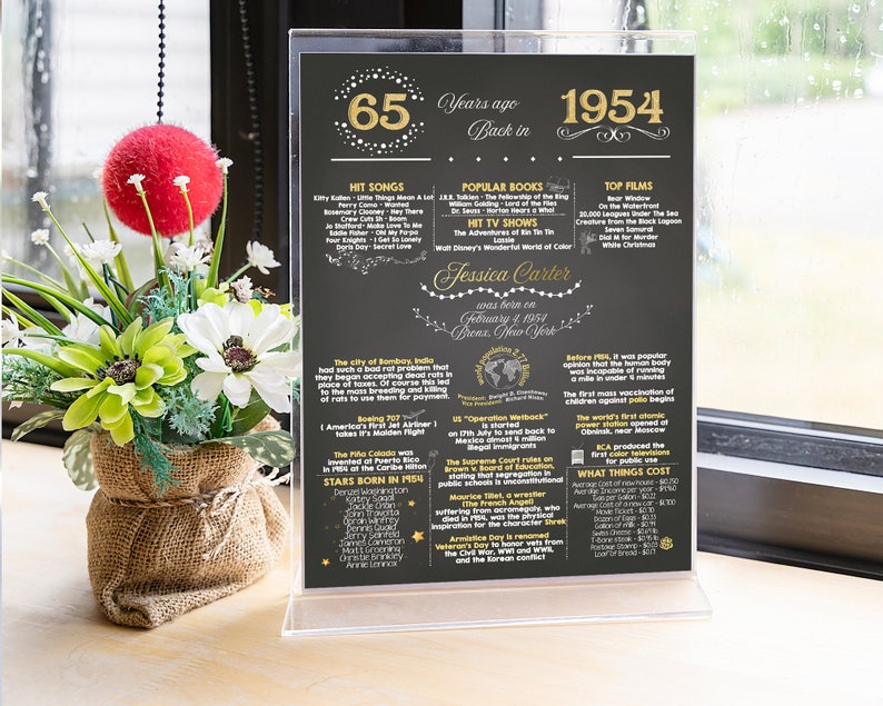 Table Centerpiece Birthday Party Decor Printable, 65th Birthday Card 5x7,  Table Card Stand, 1954 Birthday Facts, Back in 1954, Greeting Card