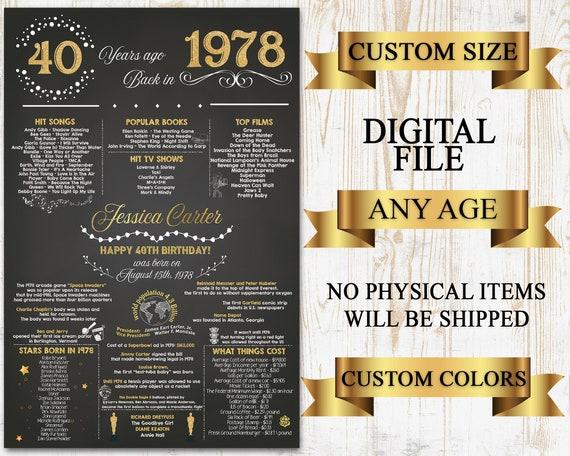40th birthday poster 40th birthday chalkboard 1978 birthday etsy