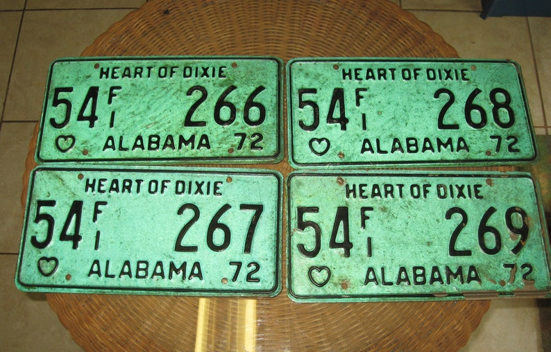 Alabama Car Tags >> Vintage Alabama Car Plates Heart Of Dixie Set Of 4 In Sequence For The Vintage Car Tag Lover