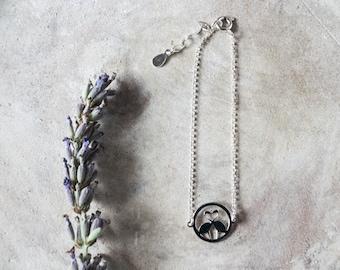 Dainty silver bird bracelet for women Gifts for her Delicate sterling silver flamingo charm bracelet Boho adjustable bracelet for summer