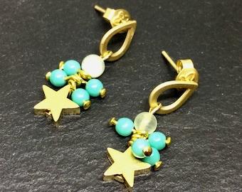 Star earrings Matt gold earrings Turquoise earrings Retro earrings Modern earrings Glass beads earrings, Matt golden  jewelry Dangle Stud