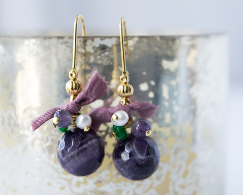 February birthstone jewelry Amethyst stone earrings dangle Purple gemstone earrings Genuine amethyst earrings gold Amethyst drop earrings