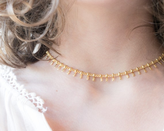 Chunky Chain Necklace Link Necklace Short Chain Necklace Hammered Brass Gifts Hammered Necklace Bohemian Necklace SALE Unique Gifts
