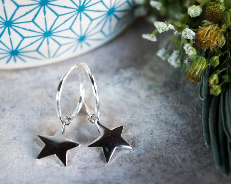 Sterling silver star earrings Huggie hoop earrings Edgy earrings Small hoop earrings with star Huggie earrings Charm hoop earrings