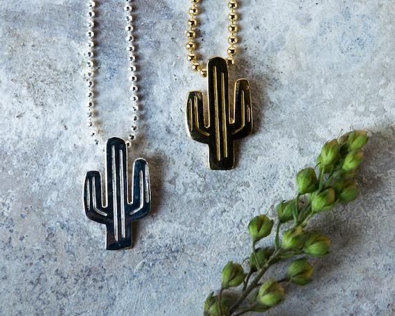 Cactus Colgante Collar Dorado Plateado Kawaii planta /& Bolsa De Regalo