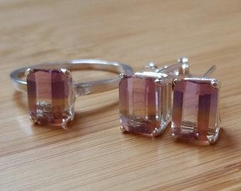 Ametrine stud earrings with ring(size 8)8×6mm
