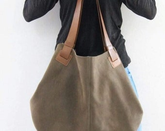 Large Real Leather Natural casual Tote Distressed brown leather tote bag  shoulder bag gift soft crossbody handbags hobo totes handbags 390044951b