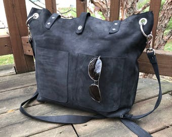 black Large Real Leather Nubuck Natural casual Tote Distressed brown  leather tote bag shoulder bag gift soft crossbody everyday purse pocket 0d64bed9b1