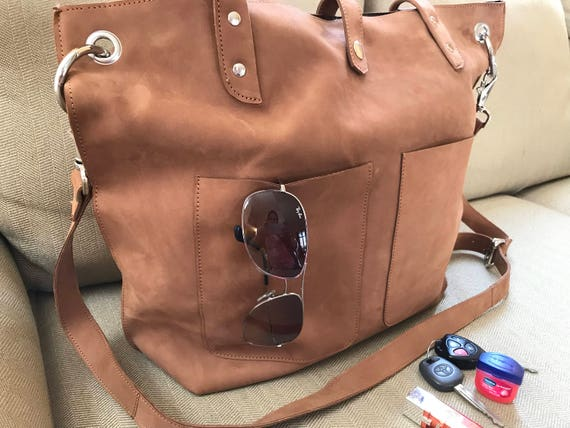 Large Real Leather Natural casual Tote Distressed brown   Etsy f8817bb3cc