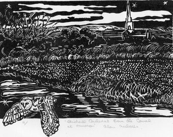 Chichester Cathedral from theCanal at Hunston  Original Linocut Handprinted