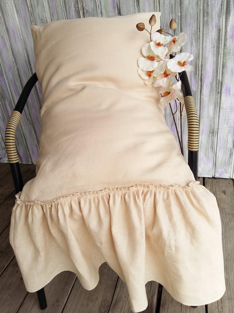 Linen Pillowcases Ruffle Bed Pillows Linen shabby chic pillow 100/% Flax Soft Bedding pillow cover Cushion cover Standard Queen King