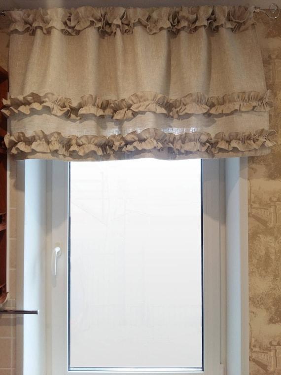 curtains linen ruffled beige kitchen drapes natural boho etsy rh etsy com etsy custom kitchen curtains custom kitchen curtains online