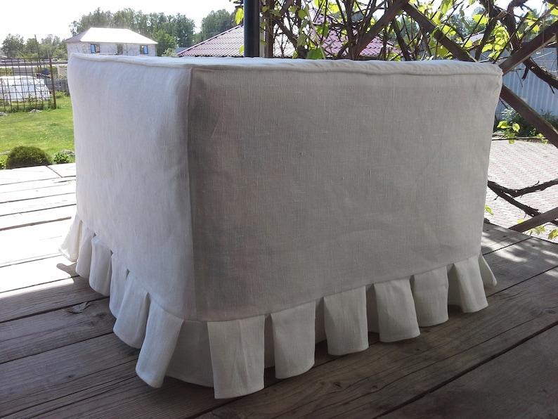 Slipcover Grand Housse De Pouf Housse De Pouf En Lin Plis Taille Et Couleur Différentes Housse Personnalisée Cube Banc Pouf Canapé Carré