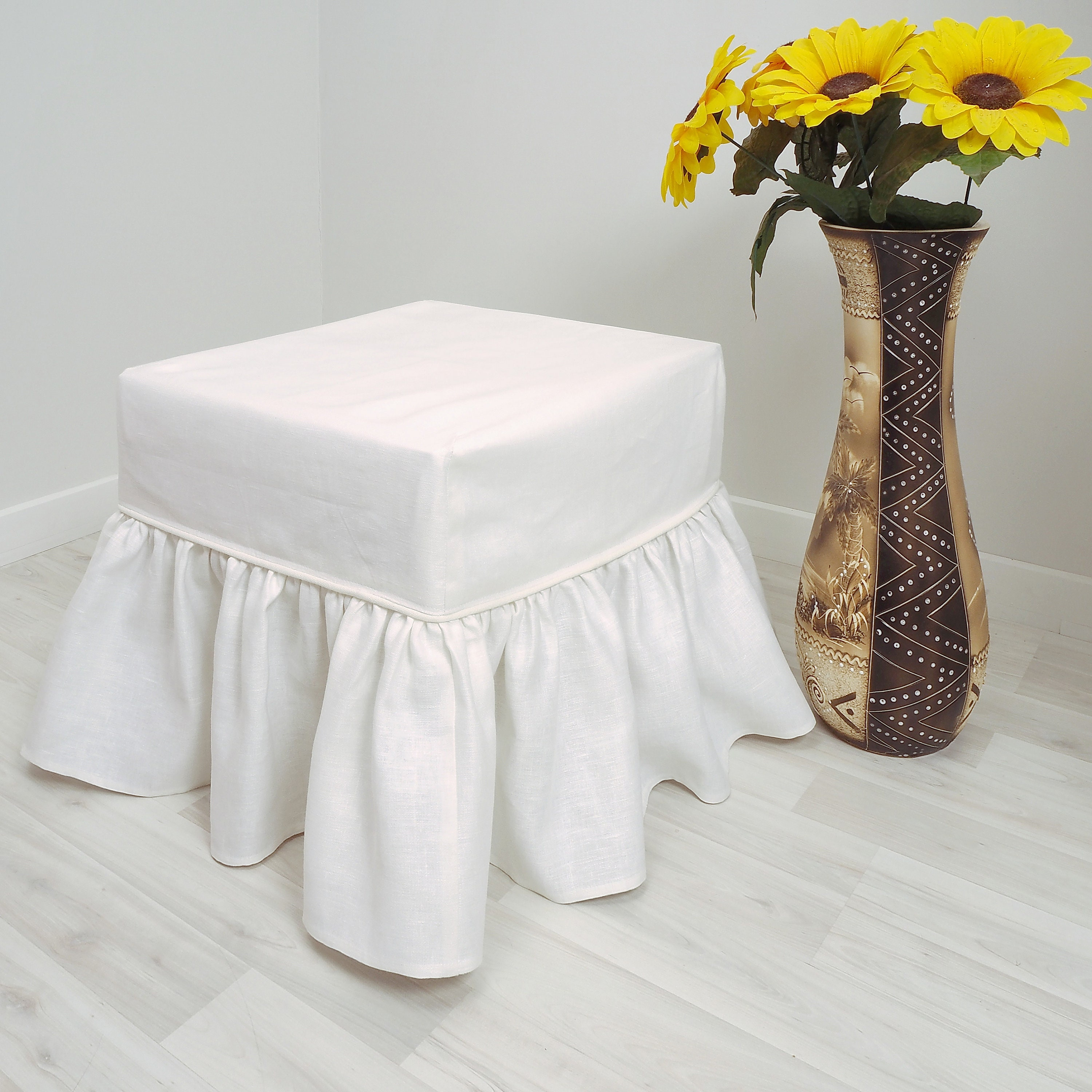 Linen Ottoman slipcover with ruffles. Cover for stool, pouf, sofa. slip, bench. Custom slipcover. Different size. Different color