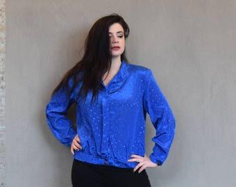 Vintage Plus Size Blouse   Blue Blouse   Polka Dot Blouse   XLarge Blouse XL   Size 16 Blouse 1X   Long Sleeve Blouse   Spring Blouse Work