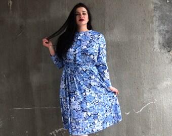 Vintage Plus Size Dress | Blue Dress | Floral Print Dress | Tunic Dress with Sleeves | XLarge Dress XL | Size 18 Dress 1X | 60s MOD Dress
