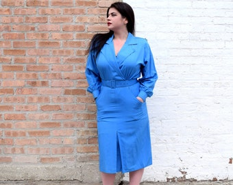 80s Office Dress | Blue Coat Dress with Pockets | Silk Dress | 80s Power Dress | Large Dress L | Size 12 Dress | 80s Theme Party Dress